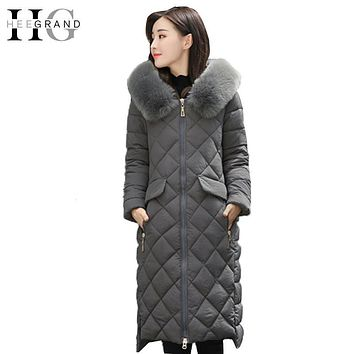 HEE GRAND 2017 Women Winter coat Long Warm Parkas Fur Collar Furry Hooded Outwear Diamond Quilted Parka Padded Jacket WWM1652