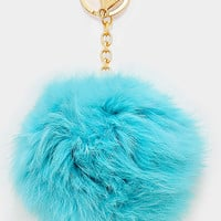 Large Rabbit Fur Pom Pom Keychain, Key Ring Bag Pendant Accessory - Turquoise