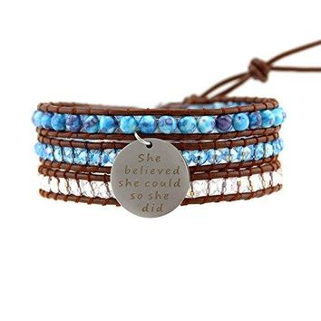 "AUGUAU Inspirational Quote ""She Believed.."" Blue Beaded Genuine Leather Tripe Wrap Bracelet for Daughter Girls by Balla"