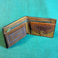Vintage Laced Leather Wallet - Tooled Design - Tooled Inside and Out - Zippered compartment