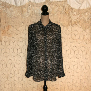 Black Abstract Print Blouse Sheer Blouse Dressy Blouse Long Sleeve Blouse Button Up Blouse Kasper Size 16/18 XL 2X Plus Size Womens Clothing