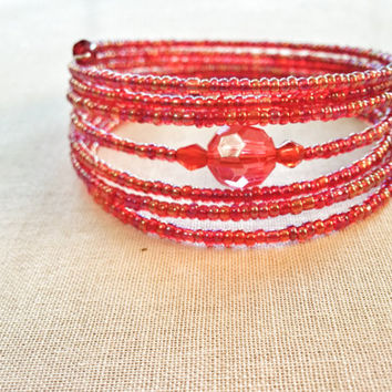 Red Bead Wrap Bracelet; Wire Wrap, Seed Bead; Memory Wire