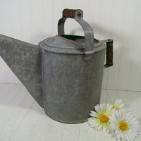Antique Galvanized Metal Very Large Watering Can with 2 Wooden Handles - Vintage Heavy Duty Zinc Metal Gardening Can Holds 10 Quarts Water