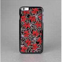 The Red Icon Flowers on Dark Swirl Skin-Sert Case for the Apple iPhone 6