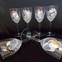 Hand Painted Wedding Toasting Glasses / Set of 6