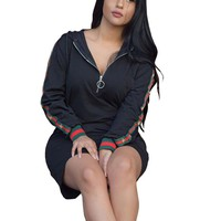 Blank Hoody Dress with Blocked Bands
