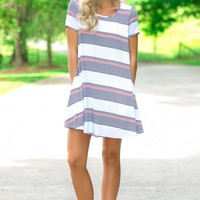 Hold The Line White Striped T-Shirt Dress