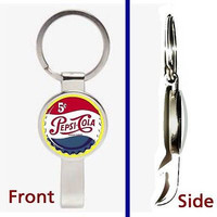Vintage Pepsi Cola Cap Pennant or Keychain silver tone secret bottle opener