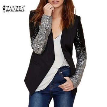 MDIGHY9 Women Coat 2016 Fashion Formal Blazers Suit Zanzea Spring Long Sleeve Lapel Gradient Sliver Black Bling Sequined Ladies Clothe