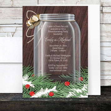 Winter Housewarming Invitations - Rustic Mason Jar Pine Boughs - Country Winter Mason Jar - Party Printed Invitations