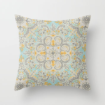Gypsy Floral in Soft Neutrals, Grey & Yellow on Sage Throw Pillow by micklyn