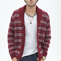 Fair Isle Shawl Cardigan Burgundy/Cream