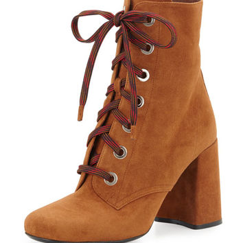 Prada Suede Lace-Up Block-Heel Boot