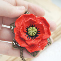 Red Poppy Polymer Clay Necklace