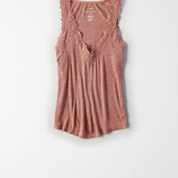 AE Soft & Sexy Ribbed Lace-Trim Cami, Rust
