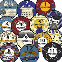 14 Police Hero Occupation Job Safety Security Unisex Neutral Baby Boy or Girl Monthly Milestone Onesuit Stickers Newborn Shower Gift