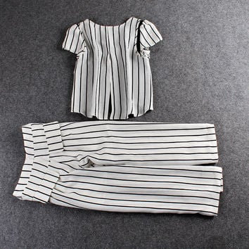 Casual Striped Puff Sleeve Top And Trouser