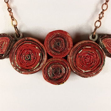 Eco Friendly Necklace Red Paper Necklace, eco jewelry gift for her, ecofriendly fashion, red necklace, recycled necklace, upcycled necklace