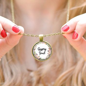 Feather and Floral Gypsy Soul Necklace