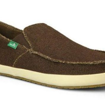 ONETOW Sanuk Rounder Hobo Dark Brown Slip-On Shoes