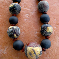 CIJ Buddhist Prayer Bead Necklace Large Clay Mala Beads with Gold Leaf from Thailand on Leather Cord Unisex Jewelry