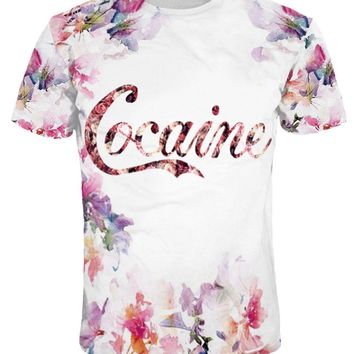 Casual Crew Neck Floral Letters Printed T-Shirt