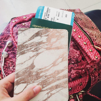 Passport cover leather passport holder personalized marble passport cover valentines gift for her valentines day pink passport cover marble