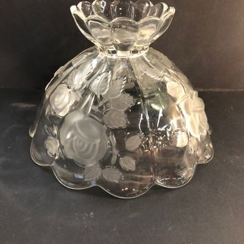 Lamp Shade Glass with Rose Design