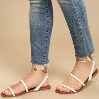 Marnina White and Gold Ankle Strap Flat Sandals