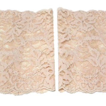 Beige Wide Floral Scalloped Stretch Lace Peek a Boo Boot Cuffs Lacey Boot Cuffs