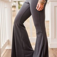 Charcoal Thermal Flare Pants