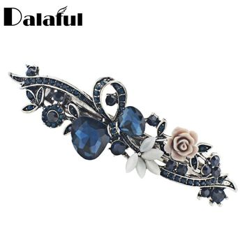 Dalaful Opals Resin Flower Hair Clip Barrette Bowknot Hairpin Headwear Accessories Gift For Woman Girls 3 Colors F141
