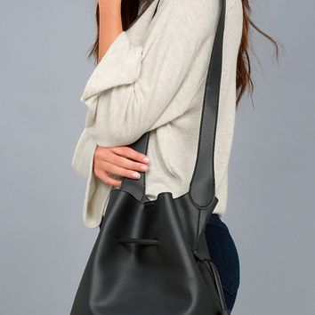 Style Symmetry Black Drawstring Bucket Bag
