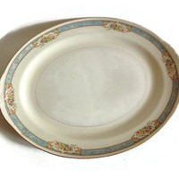 "Homer Laughlin Nautilus Eggshell-Blue Dawn-Platter-15""-Floral-Blue Border Cream-1930's-1950's-Porcelain-Replacement China"