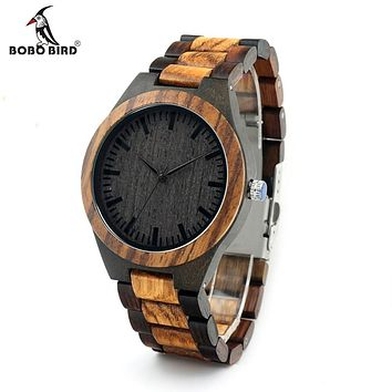 Bamboo Men Watch With Ebony Face Round Center (Vintage Zebra Wood Case)