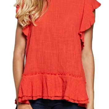 See and Be Seen Ruffle Cotton Gauze Red Top