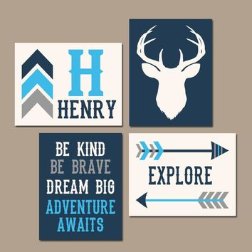 Deer Wall Art, Tribal Woodland Quote, BABY Boy Nursery Decor, Arrows, Dream Big, Be Kind, Explore, Adventure, Set of 4 Canvas or Print