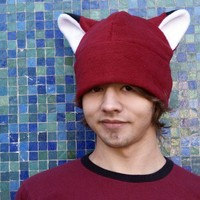 Dark Red Fleece Fox Hat by Ningen Headwear on Etsy
