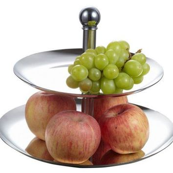Quality Elegant  2 Tier Stainless Steel Cupcake or Fruit Stand Server