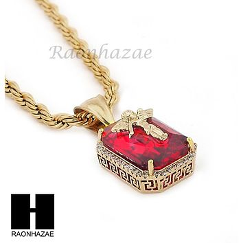 "STAINLESS STEEL ICED OUT RUBY ANGEL CZ PENDANT 24"" ROPE CHAIN NECKLACE NP020"