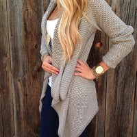 Simplee Grey Knitted Cardigan