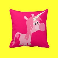 Cute Cartoon Bubble Gum Unicorn Pillow from Cheerful Madness!! at Zazzle.com