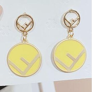 FENDI Stylish Women Cute Chic Circle F Letter Pendant Earrings Accessories Jewelry Yellow