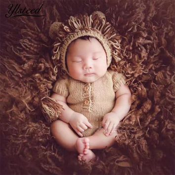 Knitted Newborn Animal Clothes Baby Lion Hat + Romer Set Baby Boy Photo Shooting Props Newborn Photography Props Infant Outfits