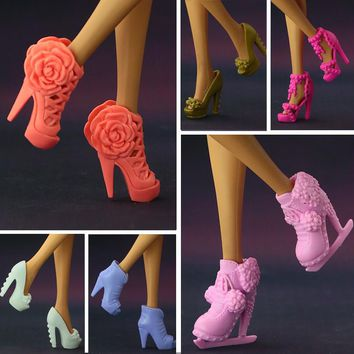 2017 NEW Multi-styles Original High-heel Shoes For Barbie Dolls  Fashionable  Doll Accessories Free Shipping