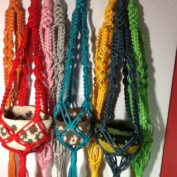 Small Macrame Plant Hangers, 4 mm Polyolefin cord, colorful choices of red, green, blue, yellow, turquoise, pink, silver, orange
