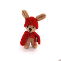 Easter purse filler, little bunny in red riding hood, crochet rabbit doll, dress up bunny, cute bunny animal, knit rabbit