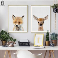 Lovely Animal Art Posters and Prints Little Deer Wall Art Canvas Painting Fox Wall Pictures For Children Room Home Decoration