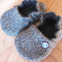 birdy boots 'Brown Tweed'upcycled woolbaby or by birdyboots