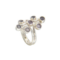 Natural Amethyst Gemstone Genuine 925 Sterling Silver Knuckle Ring